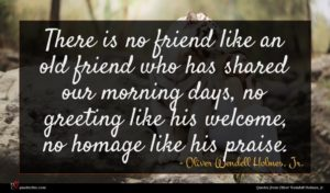 Oliver Wendell Holmes, Jr. quote : There is no friend ...