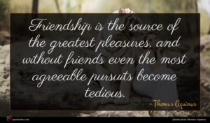 Thomas Aquinas quote : Friendship is the source ...