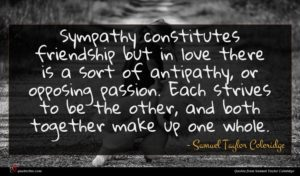 Samuel Taylor Coleridge quote : Sympathy constitutes friendship but ...