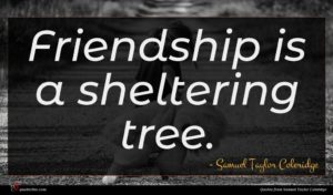 Samuel Taylor Coleridge quote : Friendship is a sheltering ...