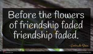 Gertrude Stein quote : Before the flowers of ...