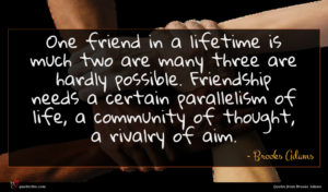 Brooks Adams quote : One friend in a ...