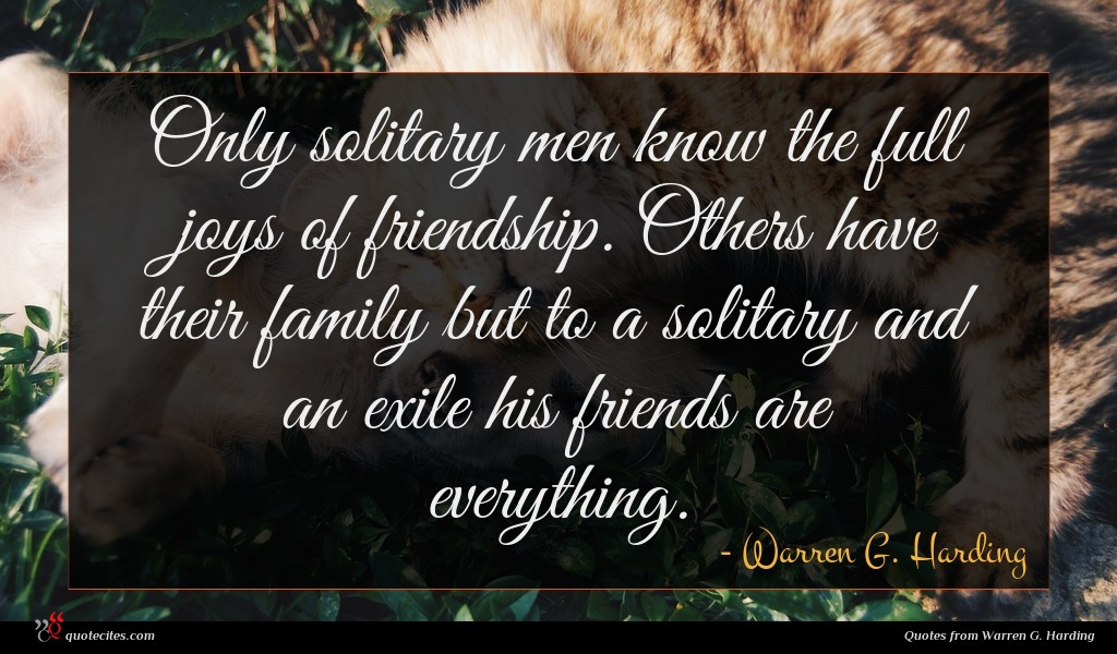 Only solitary men know the full joys of friendship. Others have their family but to a solitary and an exile his friends are everything.