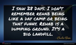Charlie Sheen quote : I saw Days I ...
