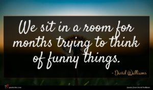 David Walliams quote : We sit in a ...