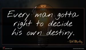 Bob Marley quote : Every man gotta right ...