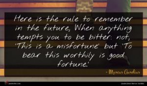 Marcus Aurelius quote : Here is the rule ...