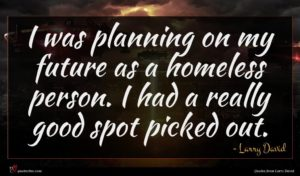 Larry David quote : I was planning on ...