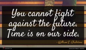 William E. Gladstone quote : You cannot fight against ...