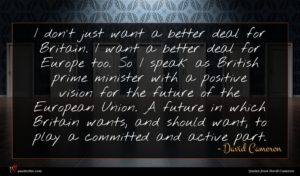 David Cameron quote : I don't just want ...