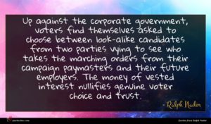 Ralph Nader quote : Up against the corporate ...