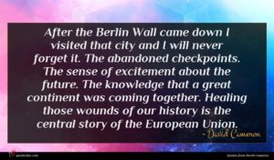 David Cameron quote : After the Berlin Wall ...