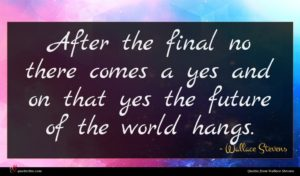 Wallace Stevens quote : After the final no ...