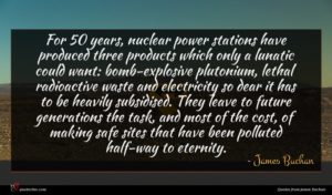 James Buchan quote : For years nuclear power ...