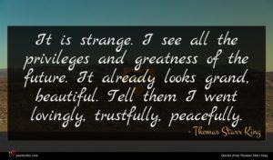 Thomas Starr King quote : It is strange I ...