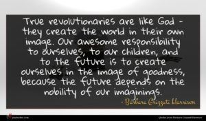 Barbara Grizzuti Harrison quote : True revolutionaries are like ...