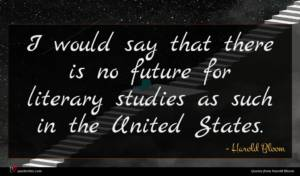 Harold Bloom quote : I would say that ...