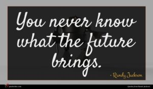 Randy Jackson quote : You never know what ...