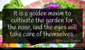 Robert Louis Stevenson quote : It is a golden ...