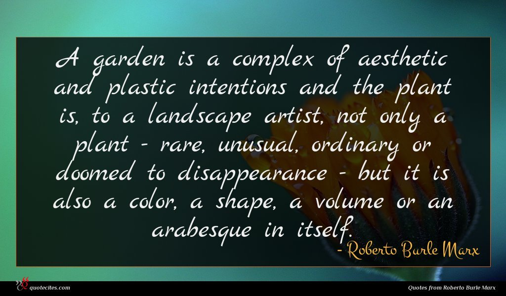 A garden is a complex of aesthetic and plastic intentions and the plant is, to a landscape artist, not only a plant - rare, unusual, ordinary or doomed to disappearance - but it is also a color, a shape, a volume or an arabesque in itself.
