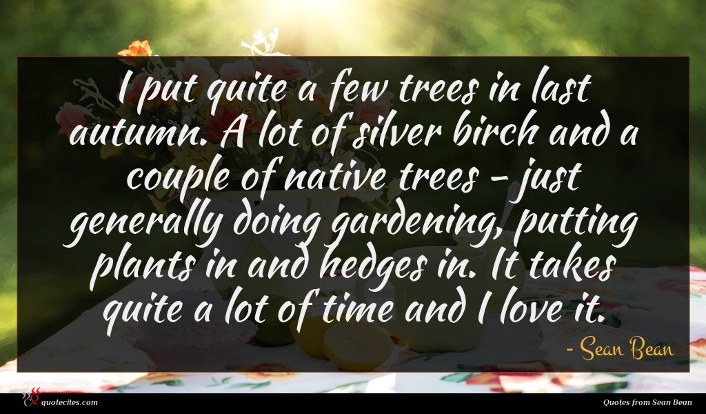I put quite a few trees in last autumn. A lot of silver birch and a couple of native trees - just generally doing gardening, putting plants in and hedges in. It takes quite a lot of time and I love it.