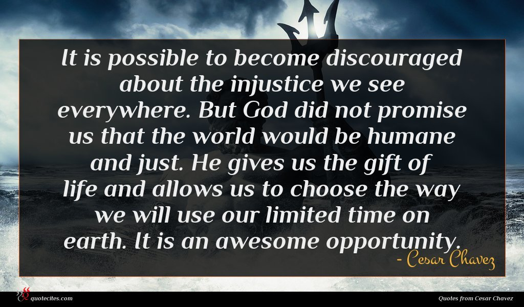 It is possible to become discouraged about the injustice we see everywhere. But God did not promise us that the world would be humane and just. He gives us the gift of life and allows us to choose the way we will use our limited time on earth. It is an awesome opportunity.
