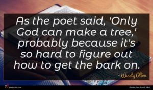 Woody Allen quote : As the poet said ...