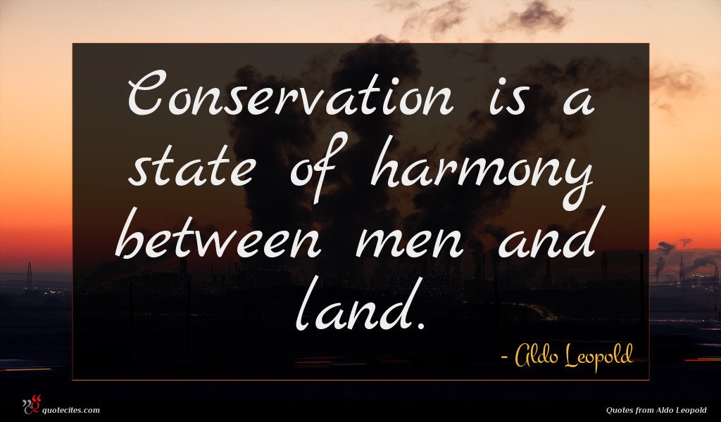 Conservation is a state of harmony between men and land.