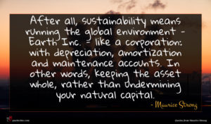 Maurice Strong quote : After all sustainability means ...