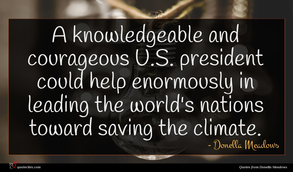 A knowledgeable and courageous U.S. president could help enormously in leading the world's nations toward saving the climate.