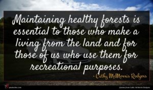 Cathy McMorris Rodgers quote : Maintaining healthy forests is ...