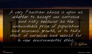 E. O. Wilson quote : A very Faustian choice ...