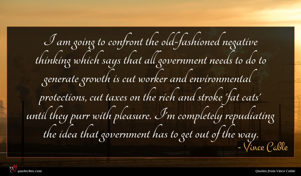 I am going to confront the old-fashioned negative thinking which says that all government needs to do to generate growth is cut worker and environmental protections, cut taxes on the rich and stroke 'fat cats' until they purr with pleasure. I'm completely repudiating the idea that government has to get out of the way.