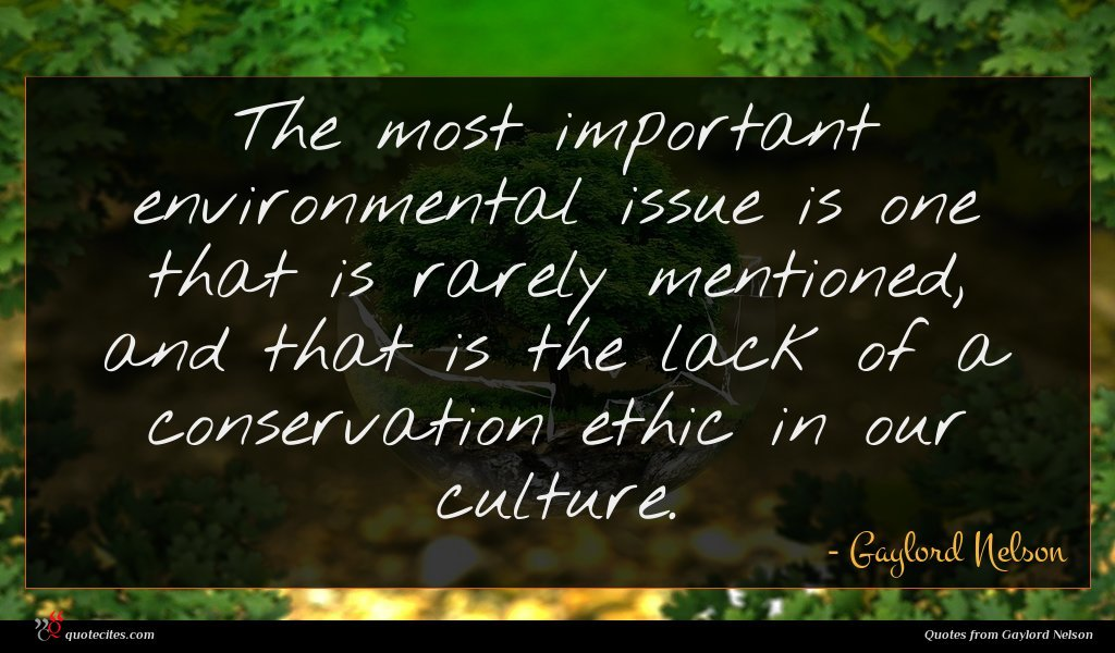 The most important environmental issue is one that is rarely mentioned, and that is the lack of a conservation ethic in our culture.