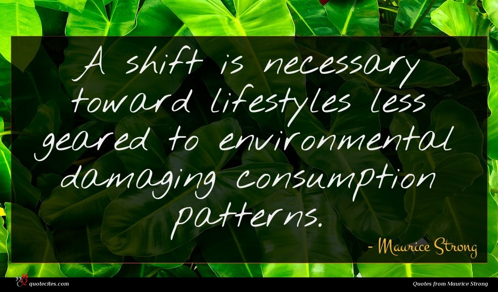 A shift is necessary toward lifestyles less geared to environmental damaging consumption patterns.