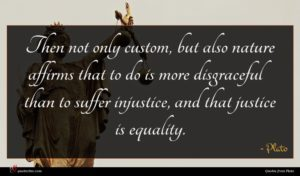 Plato quote : Then not only custom ...