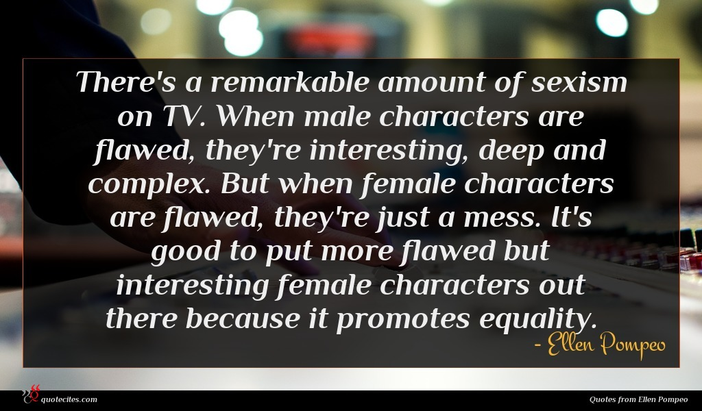 There's a remarkable amount of sexism on TV. When male characters are flawed, they're interesting, deep and complex. But when female characters are flawed, they're just a mess. It's good to put more flawed but interesting female characters out there because it promotes equality.