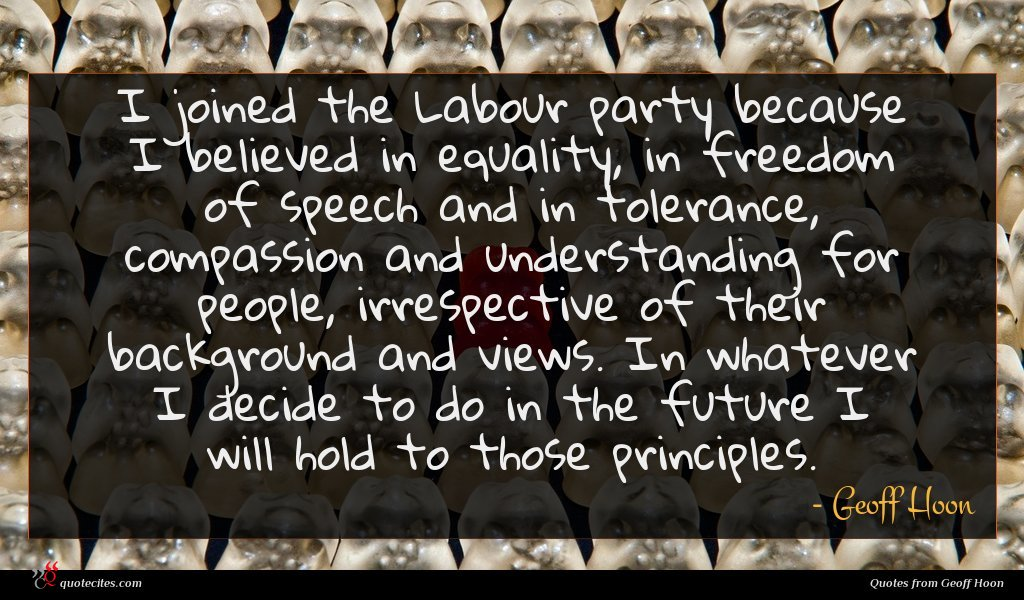 I joined the Labour party because I believed in equality, in freedom of speech and in tolerance, compassion and understanding for people, irrespective of their background and views. In whatever I decide to do in the future I will hold to those principles.