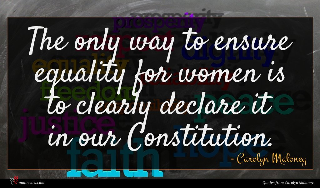 The only way to ensure equality for women is to clearly declare it in our Constitution.