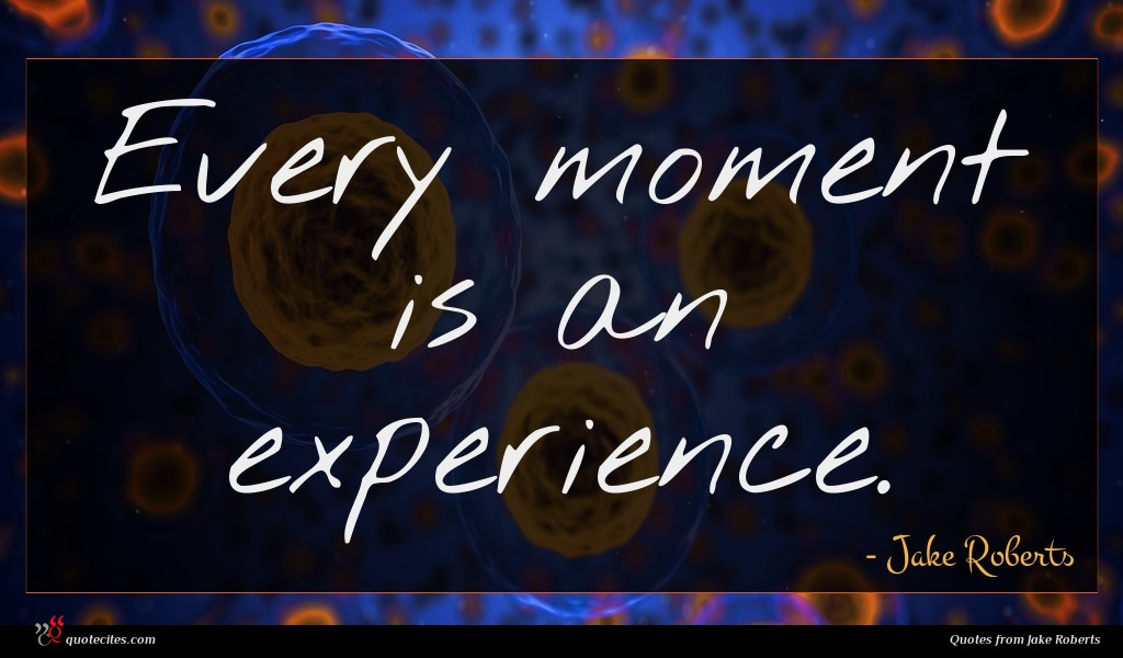 Every moment is an experience.