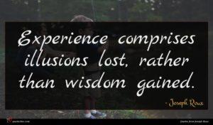 Joseph Roux quote : Experience comprises illusions lost ...