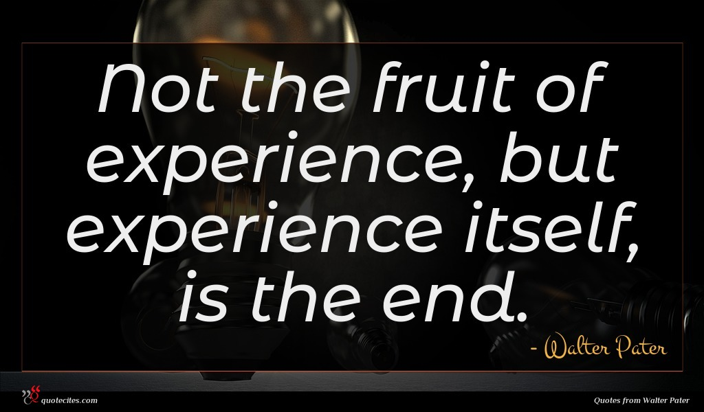 Not the fruit of experience, but experience itself, is the end.
