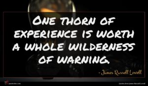 James Russell Lowell quote : One thorn of experience ...