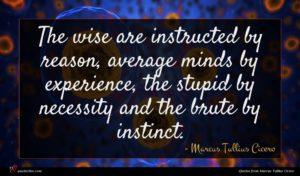 Marcus Tullius Cicero quote : The wise are instructed ...