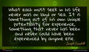 Joseph Campbell quote : What each must seek ...