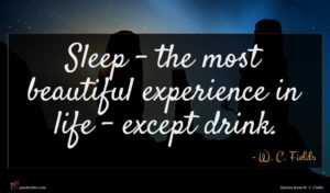 W. C. Fields quote : Sleep - the most ...
