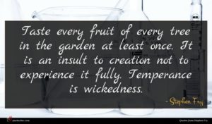 Stephen Fry quote : Taste every fruit of ...