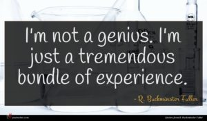 R. Buckminster Fuller quote : I'm not a genius ...