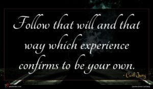 Carl Jung quote : Follow that will and ...