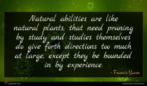 Francis Bacon quote : Natural abilities are like ...
